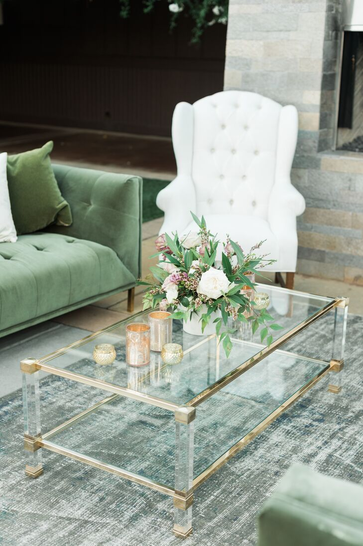 Green and White Lounge Furniture with Glass Coffee Table