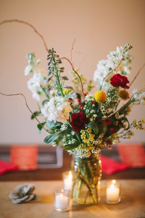 Rustic White, Red and Yellow Wildflower Centerpieces