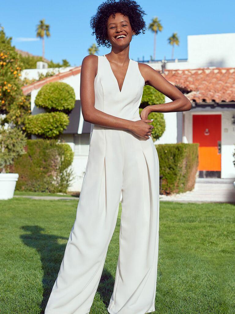 white mesh back wedding jumpsuit