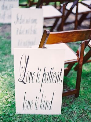 White Inspiration Ceremony Aisle Signs