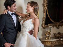 bride in jasmine bridal wedding dress with groom