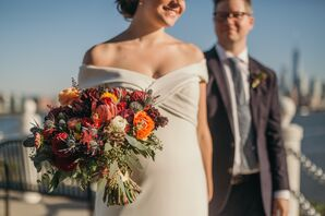 Fall-Colored Thistle, Protea, Ranunculus and Dahlia Bouquet