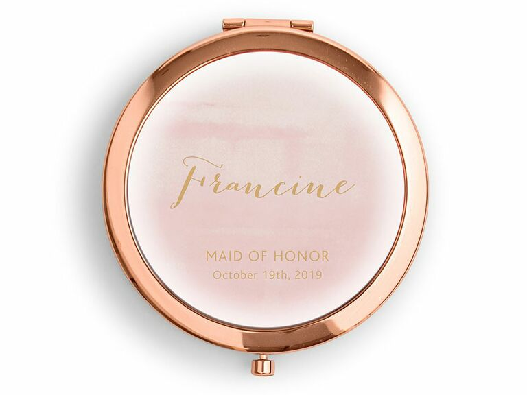 shell pink compact mirror