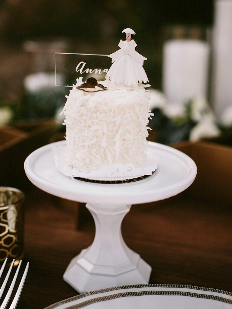 Single tier wedding cakes simple coconut