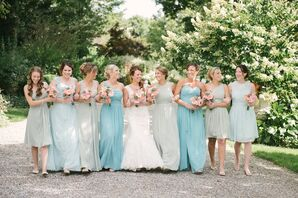 Mixed Blue and Green Mismatched Bridesmaid Dresses