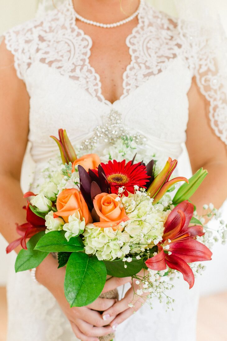 Bright Red And Orange Bridal Bouquet