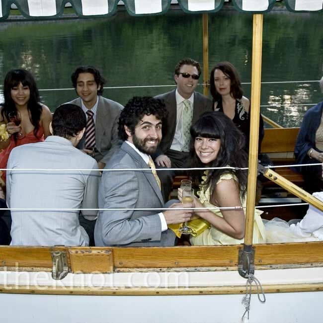 Guests took boat rides around the lake during the cocktail hour. Adam and Alicia, who had changed into a casual yellow dress, joined them for a couple of trips.