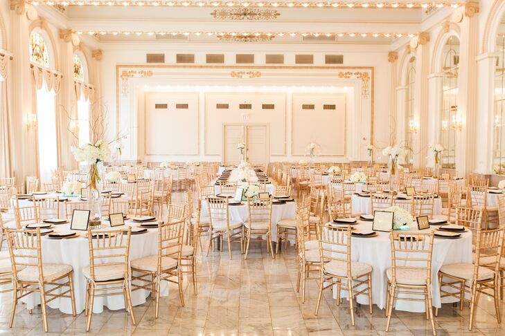 Elegant Gold and White Reception Decor