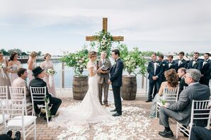 Waterfront Ceremony with a Wooden Cross