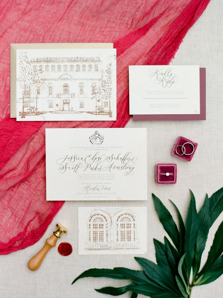 Formal Invitation Suite with Illustration of Houston Public Library