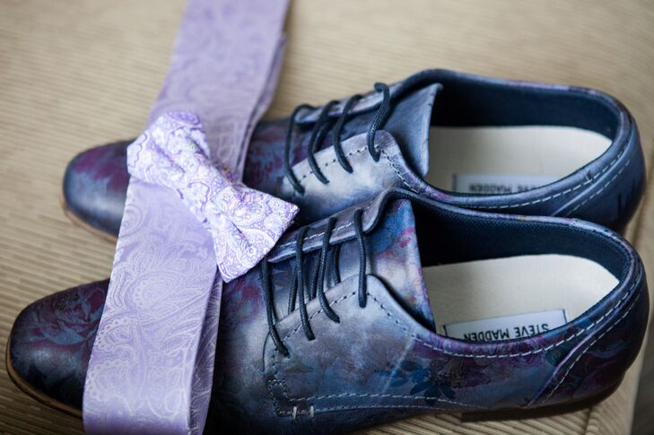 The groom wore a lavender paisley tie and Steve Madden Jakke shoes in floral blue. The combination popped against the groom's sand-colored suit and vest with mint suspenders.