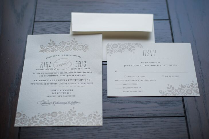 The neutral invitations featured debossed floral accents, giving the suite a natural, textural element.