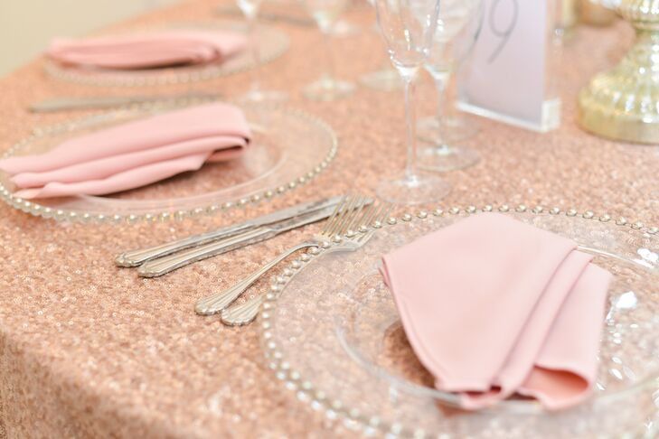 Crystal Plates and Pink Napkins