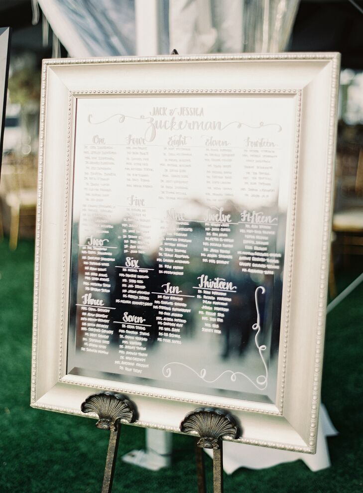 Calligraphed Mirror Seating Chart