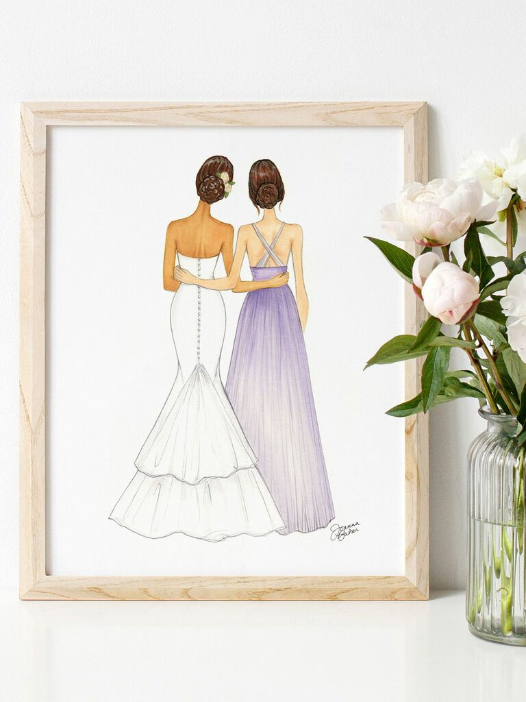 personalized maid of honor illustration
