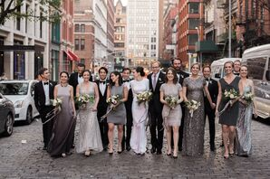 Glam Silver Mismatched Bridesmaid Dresses