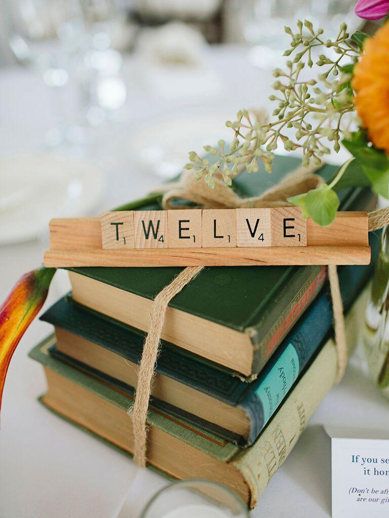 Scrabble wooden wedding table number