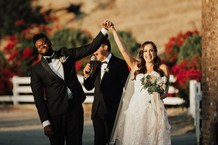 Bride and Groom Celebrate After Exchanging Vows in California