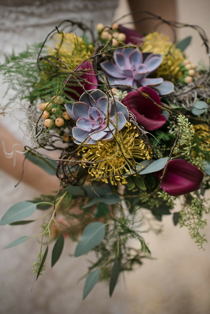 Succulent Wedding Bouquet at Hempstead House in New York