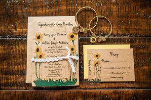 Sunflower-Adorned Brown-Paper Wedding Invitations
