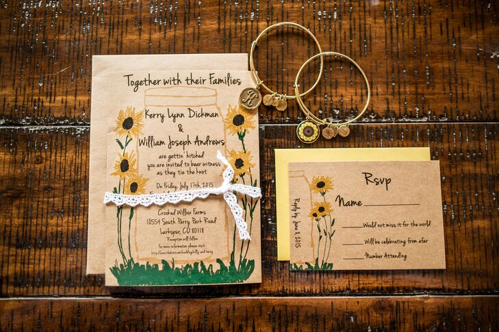 Kerry and Billy set the tone for their wedding early with sunflower-decorated brown card-stock invitations. The couple loved how they had the same colors—green, yellow, brown and white–as the wedding.