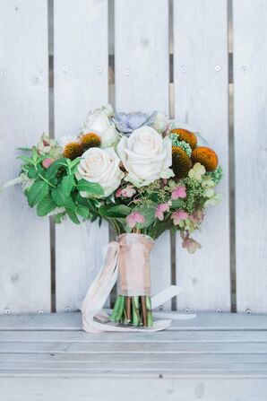 White Rose and Wildflower Bridal Bouquet