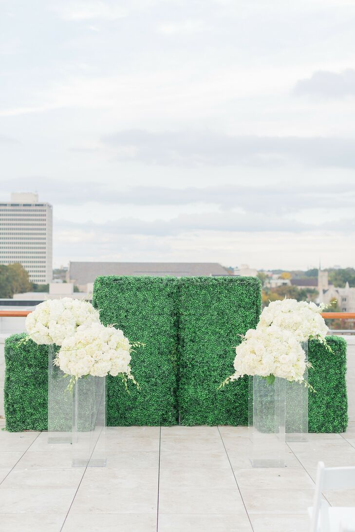 Greenery Altar Hedge for Ceremony at The Faulkner in Jackson, Mississippi