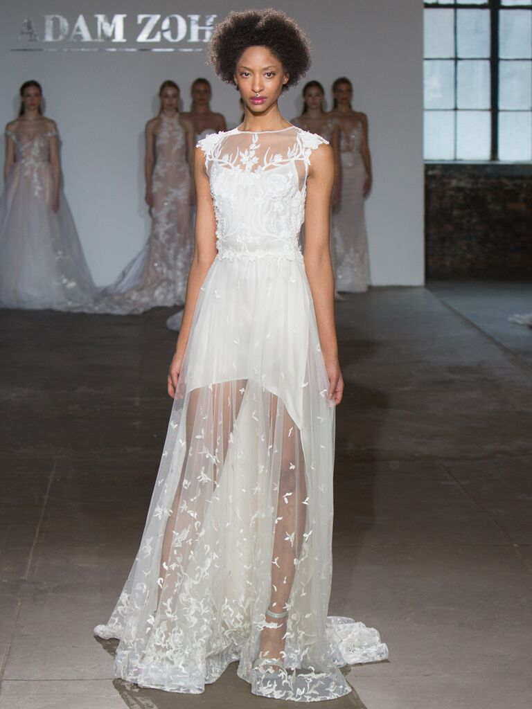 Adam Zohar Spring 2019 Collection sheer A-line wedding dress with illusion cap sleeves