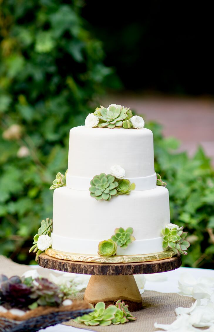 Succulent Topped Fondant Wedding Cake