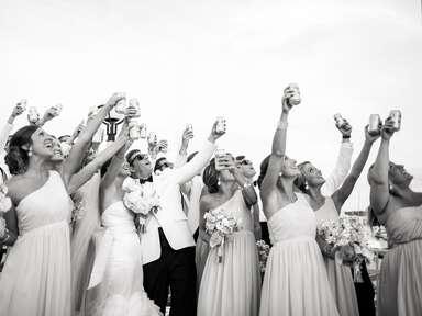 Wedding party toasting