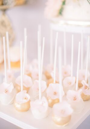 Gold, Flower-Trimmed Cake Balls