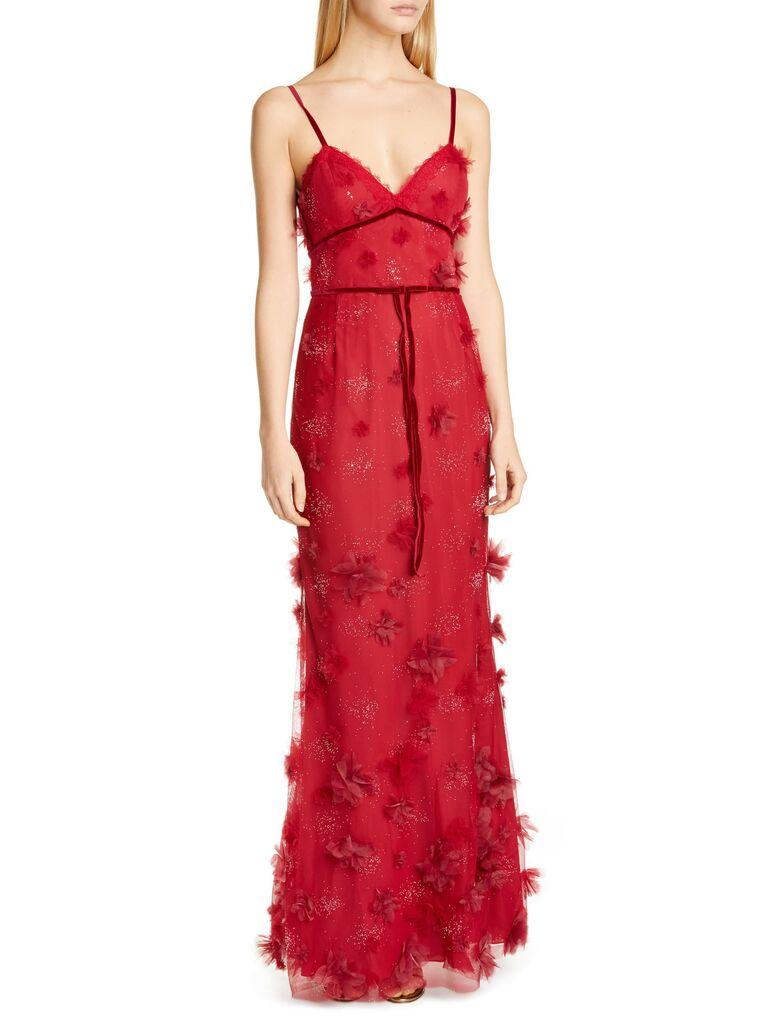 Marchesa Notte floral appliqué trumpet gown