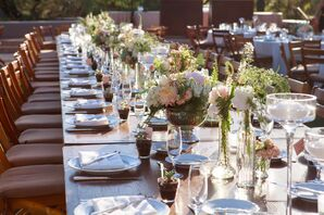 Long Wooden Farm Tables with Romantic Florals