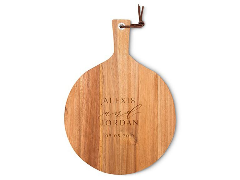 personalized round wooden cutting & serving board