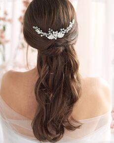 Dareth Colburn Carina Floral Comb (TC-2296) Silver Pins, Combs + Clip