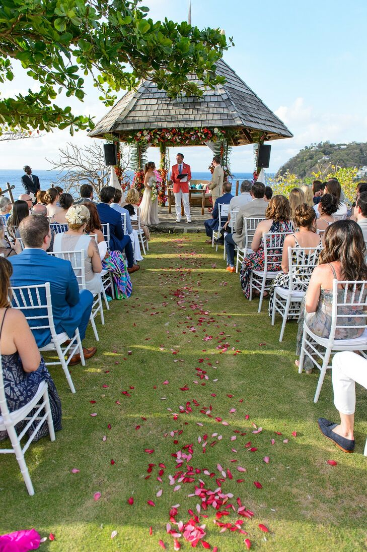 Casual Waterfront Ceremony with Rose Petals and Gazebo