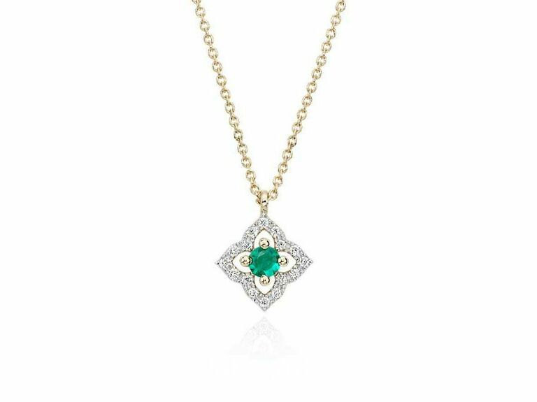 Dainty floral emerald and diamond necklace