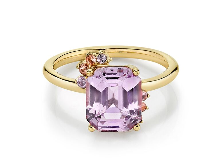 Lavender pink sapphire engagement ring