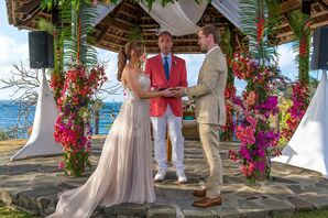 Casual Beach Wedding with Colorful Tropical Flowers at Cap Maison in Saint Lucia