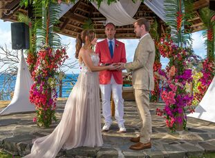 Emma Dunbar and Steven Mondolino had a casual, modern destination wedding at Cap Maison in Saint Lucia. After guests received welcome bags full of sna