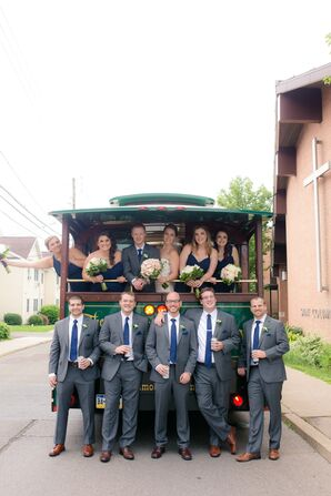 Groomsmen in Gray Suits by Vintage Trolley