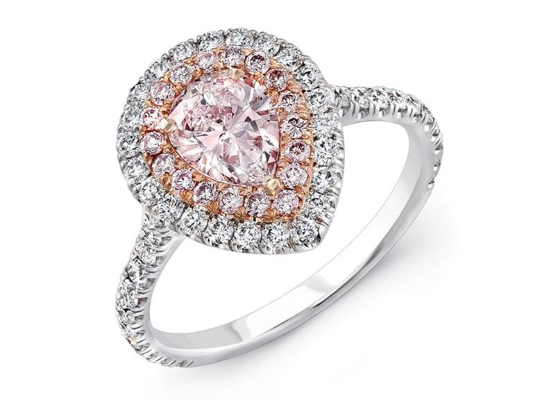pink diamond pear ring