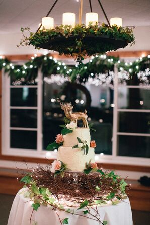 Rustic White Buttercream Wedding Cake with Gold Deer Topper