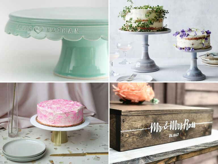 Collage of four unique and classic wedding cake stands
