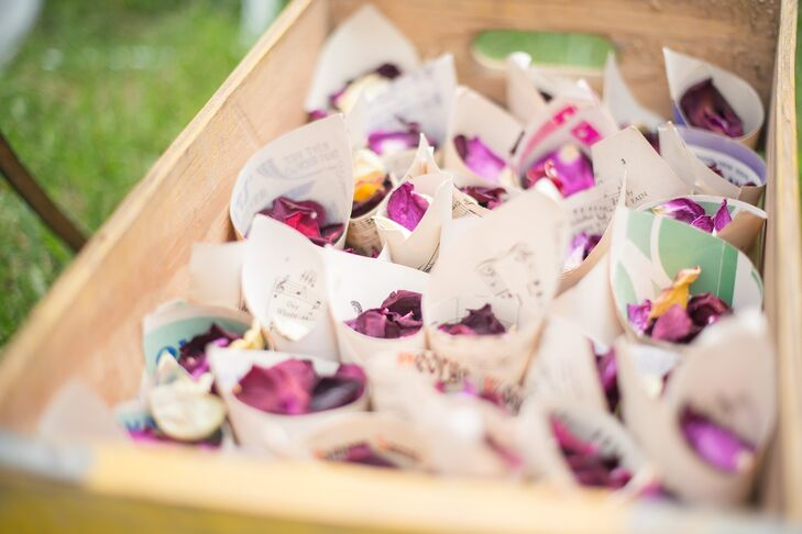 At the end of the ceremony, guests showered the newlyweds with dried rose petals wrapped in sheets of piano music.