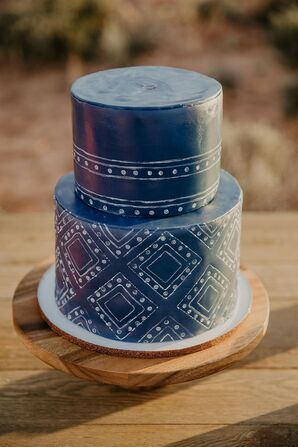 Rustic Blue and White Hand-Painted Fondant Wedding Cake