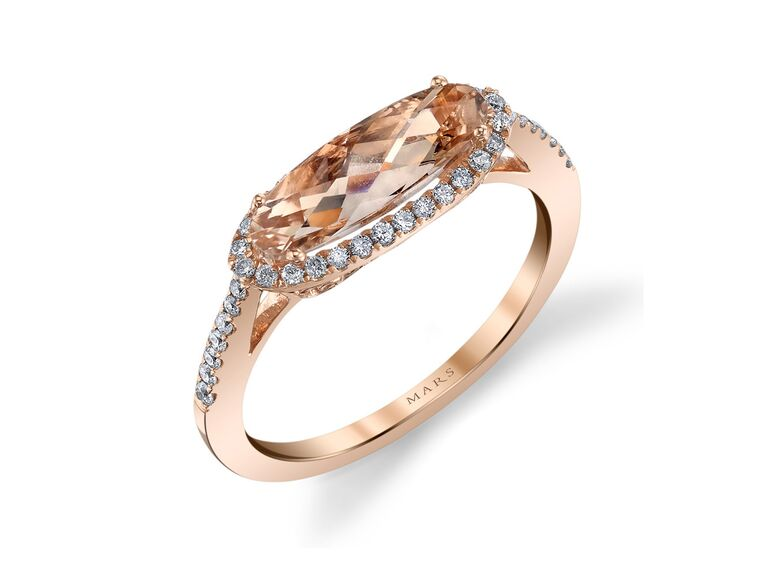 MARS oval east-west pink morganite and diamond ring in rose gold