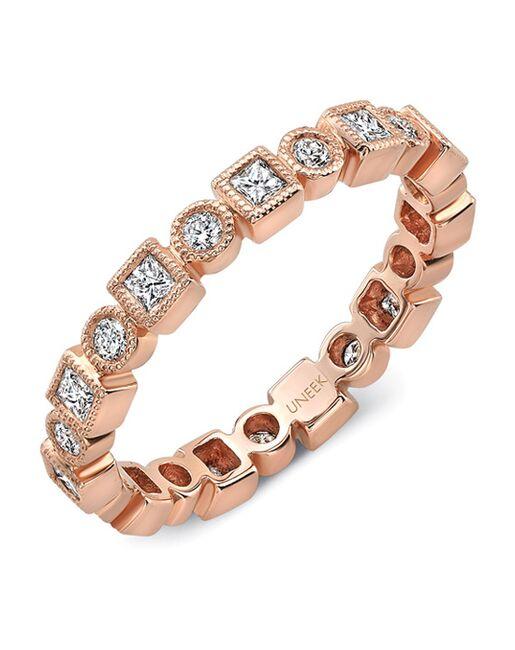 "Uneek Fine Jewelry Uneek ""Broadway II"" Stackable Wedding Band, 18K Rose Gold -LVBNA029R Rose Gold Wedding Ring"