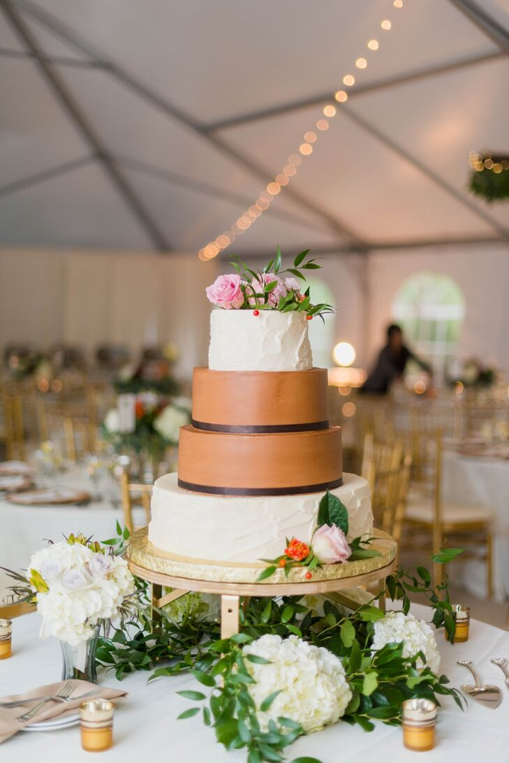 Four-Tier Flower-Decorated Cake