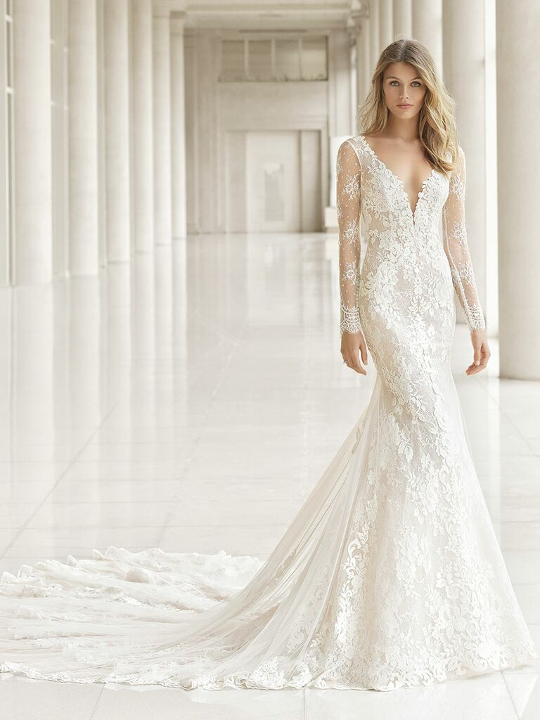Rosa Clará Fall 2018 wedding dresses sheer lace sleeves